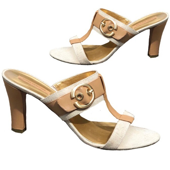 Jones New York Leather & Fabric Sandals